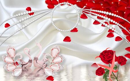 3d illustration, white silk background, pearl necklace, a pair of pink ceramic swans, red roses and large red petals Stock Photo