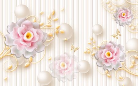 3d illustration, beige background with vertical stripes, beige balls, white and pink abstract ceramic flowers on ornamental stems