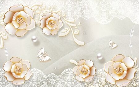 3d illustration, light background, white ornament, pearls, beige gilded roses, two paper butterflies