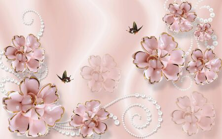 3d illustration, light pink background, pearl ornament, pink gilded ceramic flowers, two dark butterflies Stock Photo