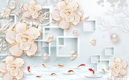 3d illustration, light blue background, square frames, pearls, beige gilded roses on ornamental stems
