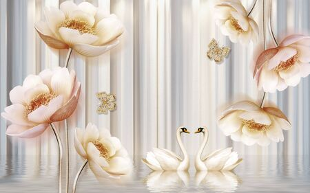 3d illustration, light corrugated background, large beige flowers, a pair of white swans, reflection in the water