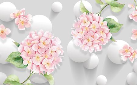 3d illustration, gray background, white balls, two buds of pink hydrangeas