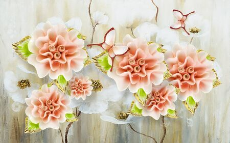 3d illustration, light background, large pink and white decorative flowers