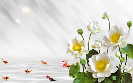 3d illustration, light background, white water lilies with green leaves, goldfish in the water Stock Photo