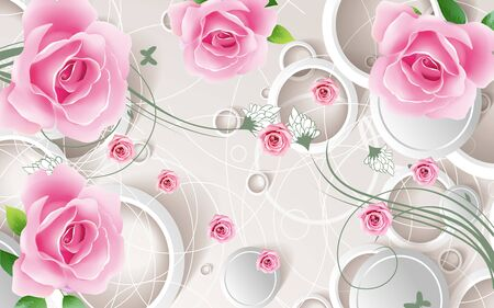 3d illustration, light background, white rings, large and small buds of pink roses
