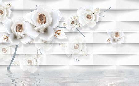 3d illustration, white embossed background, large white roses, reflection in the water Banco de Imagens