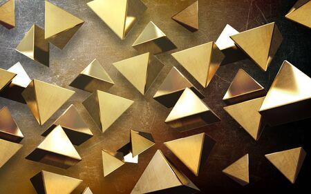 3d illustration, grunge background, many soaring golden triangular pyramids