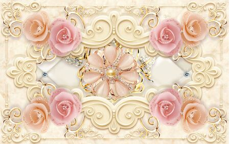 3d illustration, beige marble background, ornamental embossed frame, pink and beige shiny rose buds, abstract ornamental gilded light pink flower with pearls Stock Photo