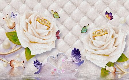 3d illustration, light background, upholstery, large beige roses, multi-colored butterflies, a pair of white-blue swans, reflection in the water Stok Fotoğraf