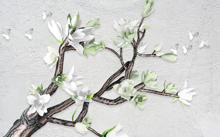 3d illustration, gray textured background, curved thick branch with large white flowers, white paper butterflies