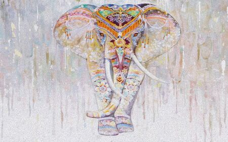 Light spotted background, indian painted elephant