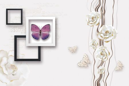 3d illustration, white background with mirror text, white and black square frames, lilac butterflies, vertical wave-like lines, white gilded rose buds Stok Fotoğraf