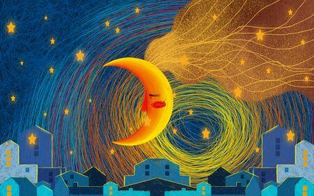 Drawn illustration, night sky, stars, big yellow-orange moon, houses of the night city