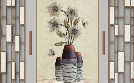 3d illustration, floor vases with abstract flowers in the interior Stok Fotoğraf