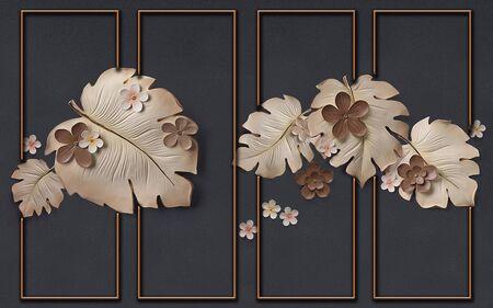 3d illustration, dark gray background, orange frames, large brown and beige leaves and flowers Stok Fotoğraf