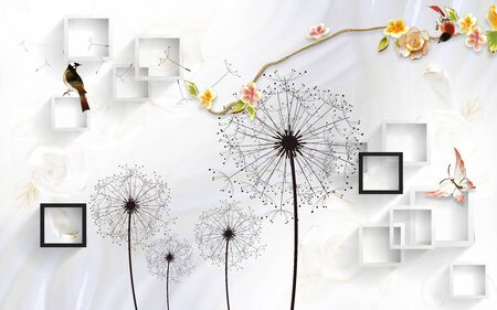 3d illustration, white background, black and white square frames, black dandelions, flowers on a long curved branch, two birds