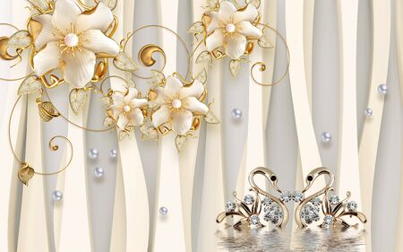 3d illustration, beige background, large ornamental gilded flowers, pearls, a pair of gold jewelry in the form of swans