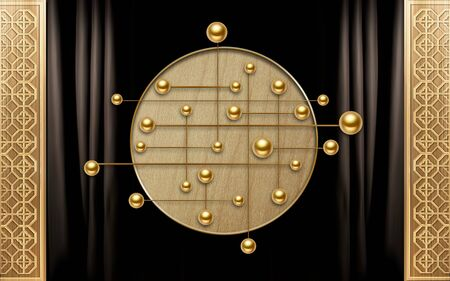 3d illustration, dark background, ornament, wooden circle, golden balls connected by lines Stok Fotoğraf