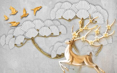 3d illustration, gray textural background, a flock of beige birds, a large golden tree with abstract flowers, a deer with blooming horns