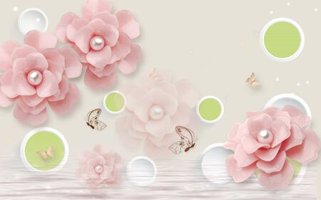 3d illustration, light background, white rings and green circles, large pink rose buds with pearls Stok Fotoğraf