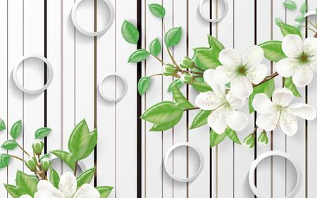 3d illustration, white background with vertical lines, white rings, large branches of a blossoming apple tree