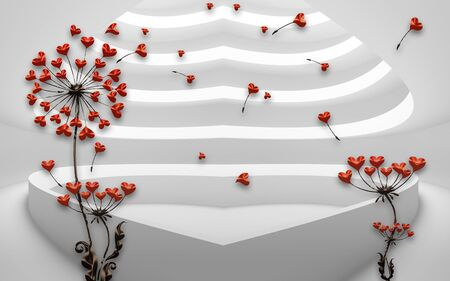 3d illustration, gray steps in the shape of a heart, dark dandelions with small red hearts
