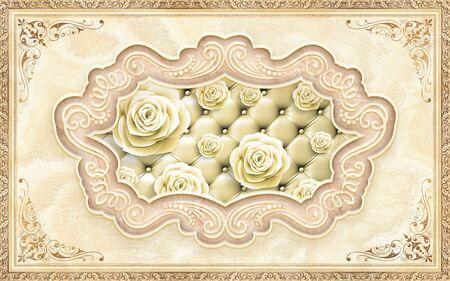 3d illustration, beige ornamental vintage frame, upholstery and rosebuds