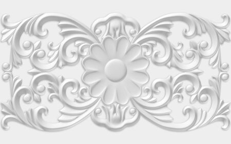 3d monochrome illustration, embossed ornament with a flower in the middle of the illustration Stok Fotoğraf