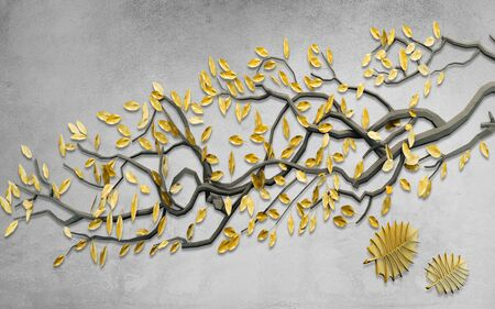 3d illustration, gray textured background, dark gray curved tree branch with yellow leaves Stok Fotoğraf