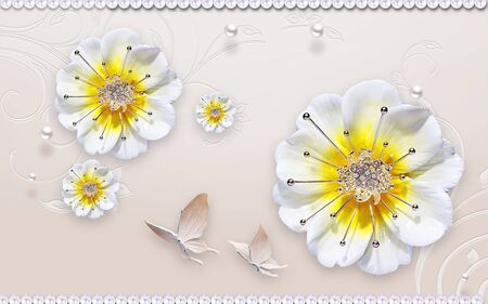 3d illustration, beige ornamental embossed background, pearls, two butterflies, large white-yellow buds of fabulous flowers