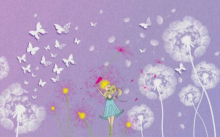 3d illustration, lilac textured background, white paper butterflies, white and color dandelions, a girl in a blue dress