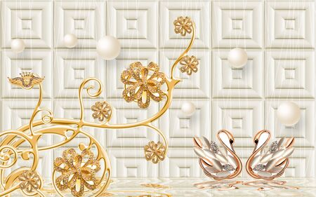 3d illustration, light background, embossed tile, pearl, abstract ornamental golden flower with crystals, pair of golden swans, reflected in water Stok Fotoğraf