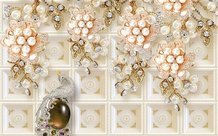 3d illustration, beige tiled background, abstract pearl golden flowers with crystals, silver peacock sits on a dark stone Stok Fotoğraf