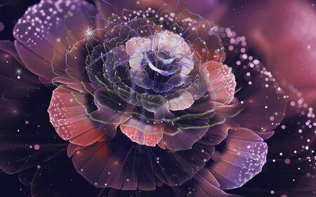 3d illustration, airy shiny rose on a dark background Stok Fotoğraf