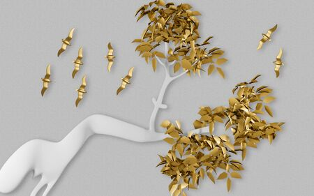3d illustration, gray background, white abstract curved tree with golden leaves and a golden flock of birds