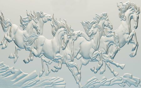 3d illustration, light background, images of horses in a bas-relief Stok Fotoğraf