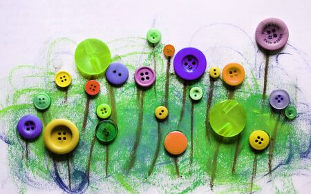 3d illustration, drawing with crayons, funny flowers made of buttons Stok Fotoğraf