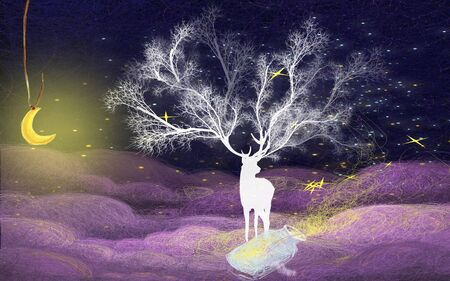Huge white magic deer with big horns against the background of the dark starry sky, a yellow crescent moon hanging on a rope