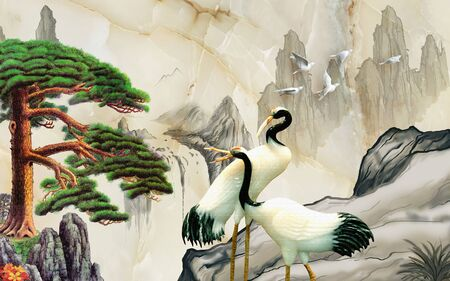 Landscape illustration, marble, mountains, a pair of cranes, green pine on a rock Stok Fotoğraf