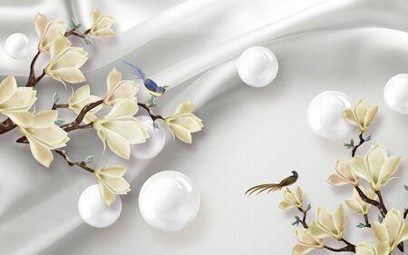 3d illustration, white fabric background, white shiny balls, large magnolia flowers Stok Fotoğraf