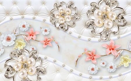 3d illustration, white upholstery, wave, abstract silver pearl flowers, ceramic white roses and pink lilies Stok Fotoğraf