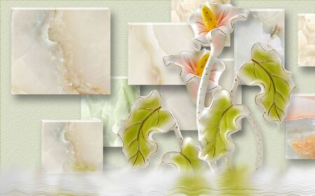 3d illustration, green texture background, marble rectangles, large calla flowers with green leaves, reflection in the water Stok Fotoğraf