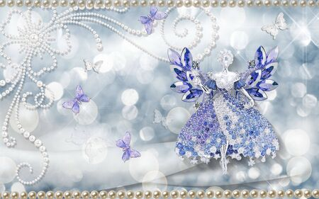 3d illustration, gray spotted background, pearls, jewelry fairy in a dress, white and lilac butterflies