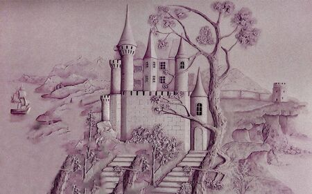 3d illustration, dark lilac image of the castle, mountains, sailboat
