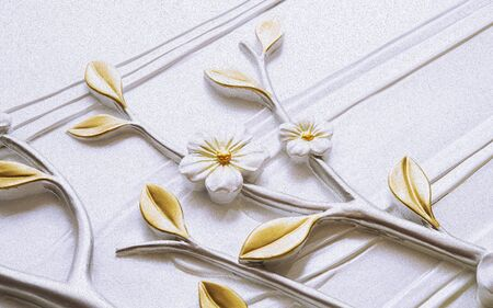 3d illustration, white background, embossed white flowers with golden leaves