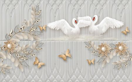 3d illustration, gray embossed background, abstract flowers with pearls and crystals, beige butterflies, a pair of white swans flapping wings