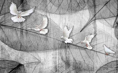 3d illustration, monochrome contours of leaves, a flock of white doves Stok Fotoğraf
