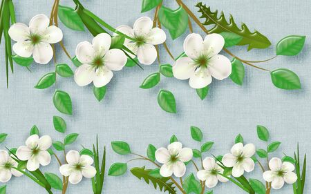 3d illustration, blue fabric background, large white flowers of apple tree with green leaves