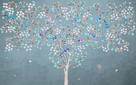 Dreamlike thin flowering tree with blue and green leaves and birds sitting on branches against a dark spotty background